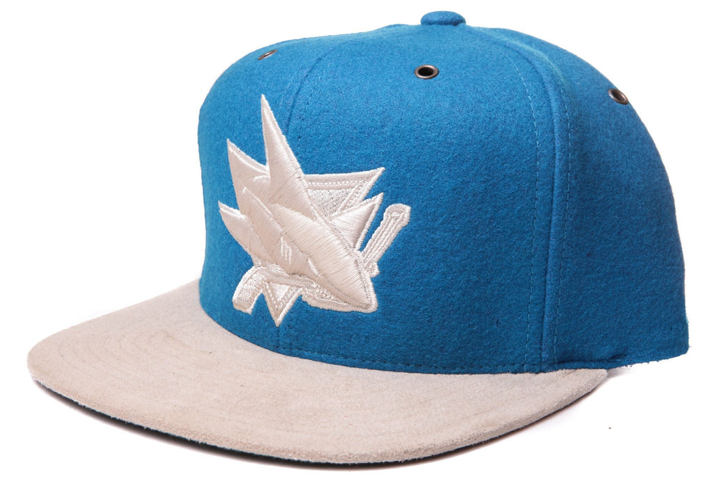 San Jose Sharks Logo Winter Suede BL/BR Strapback - Bespoke Cut and Sew
