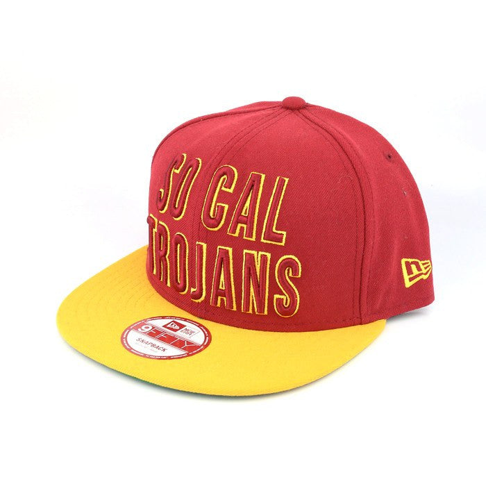 USC Trojans Word Stack Maroon/Yellow Snapback - Bespoke Cut and Sew