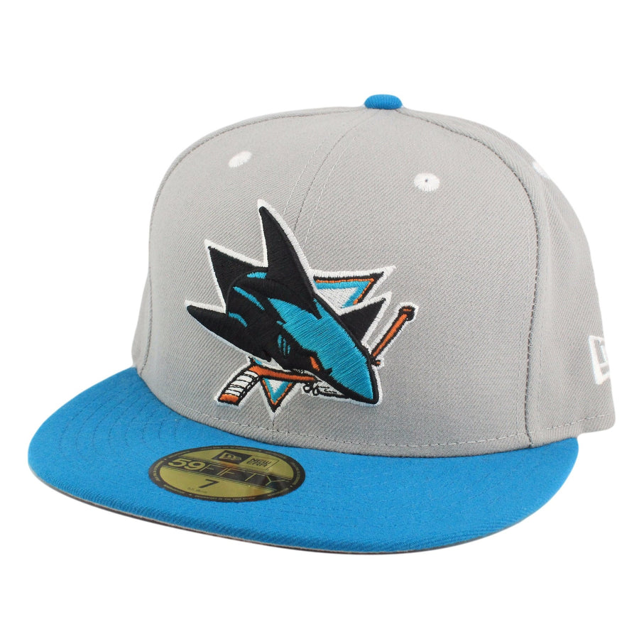 New Era San Jose Sharks Logo Gray Blue Fitted 85df79c4cfab