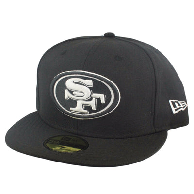 New Era San Francisco 49ers White Logo Black/Black Fitted