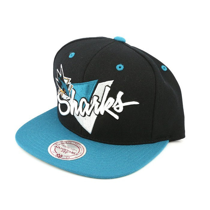 San Jose Sharks Triangle Script Black/Blue Snapback, Mitchell and Ness