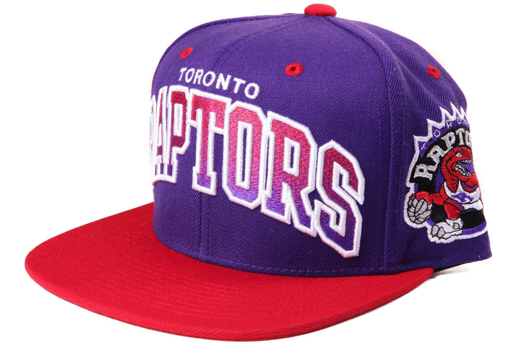 Mitchell and Ness NBA Adjustables, Toronto Raptors Arch Gradient Purple/Red Snapback - Bespoke Cut and Sew