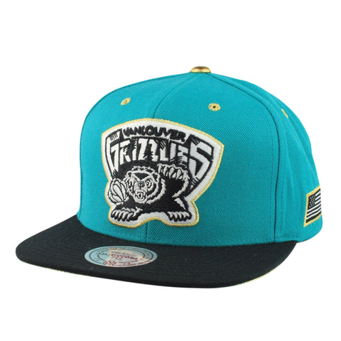 Vancouver Grizzlies HWC Gold Tip Teal/Black Snapback, Mitchell and Ness