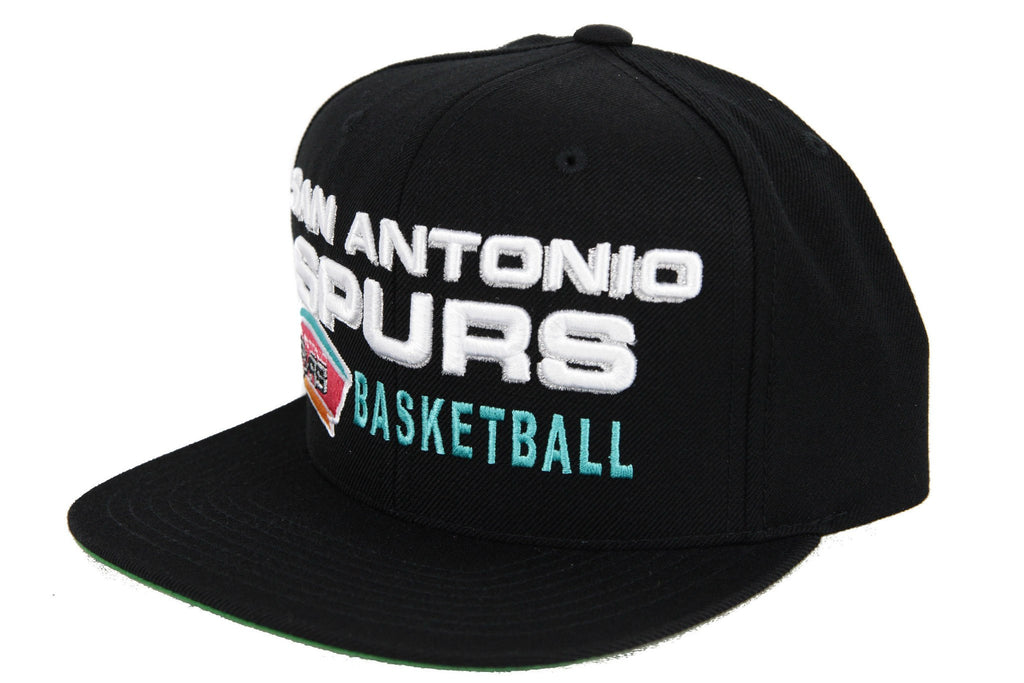 Mitchell and Ness NBA Adjustables, San Antonio Spurs Blocker Black/Black Snapback - Bespoke Cut and Sew