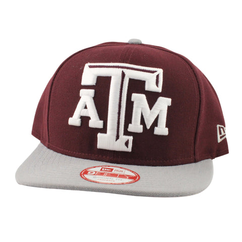 Texas A&M Aggies Logo Grand Redux Burgundy/Gray Snapback, New Era