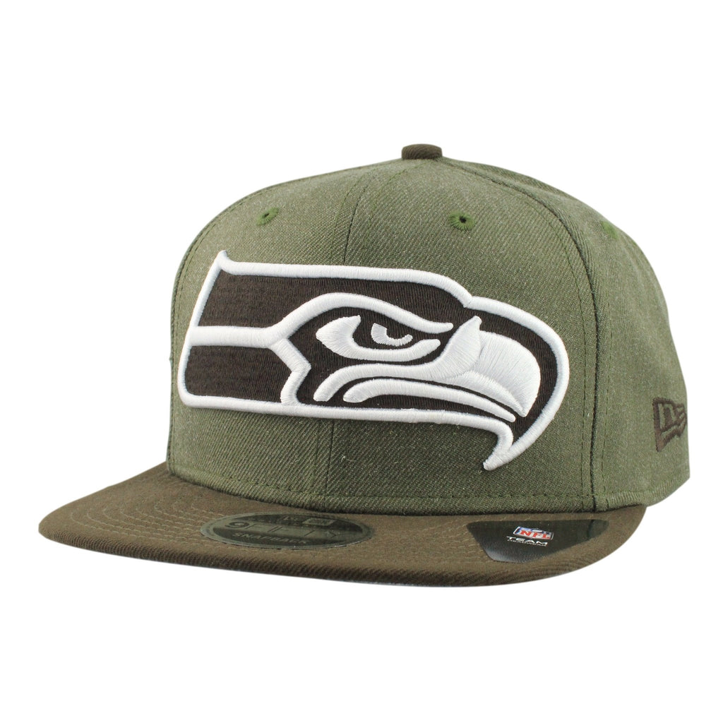 Seattle Seahawks Heather Grand Olive/Brown Snapback - Bespoke Cut and Sew - 1