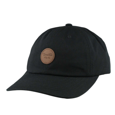 Brixton Brixton Wheeler Leather Patch Black/Black Slouch Strapback