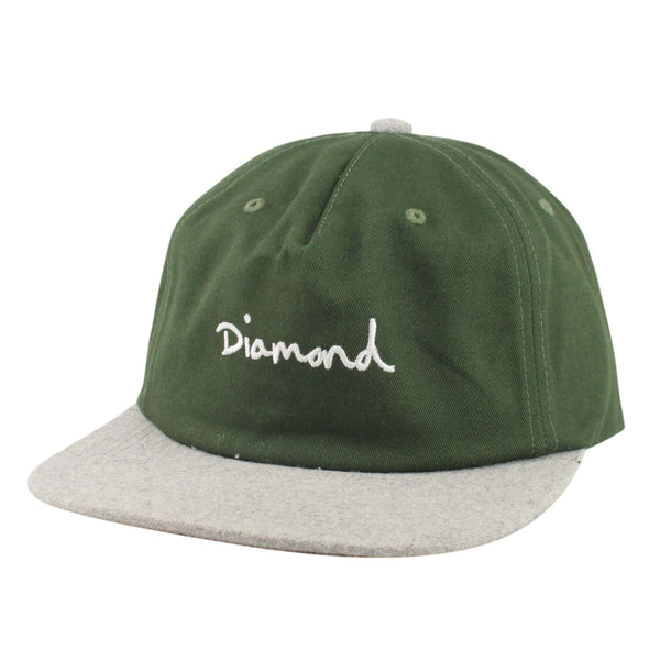 5336627d0397d9 Diamond OG Script Two Tone Olive/Gray Unstructured Snapback | Diamond  Supply Co. | Bespoke Cut and Sew