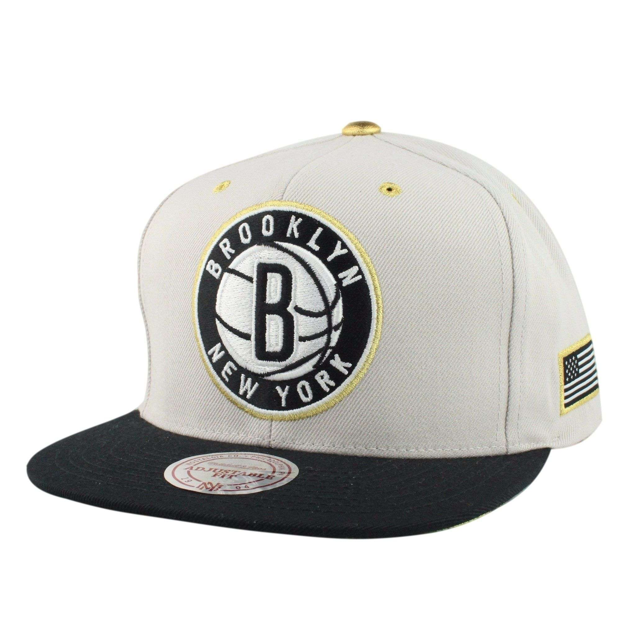 finest selection a64e1 ad694 Brooklyn Nets Gold Tip Gray Black Snapback