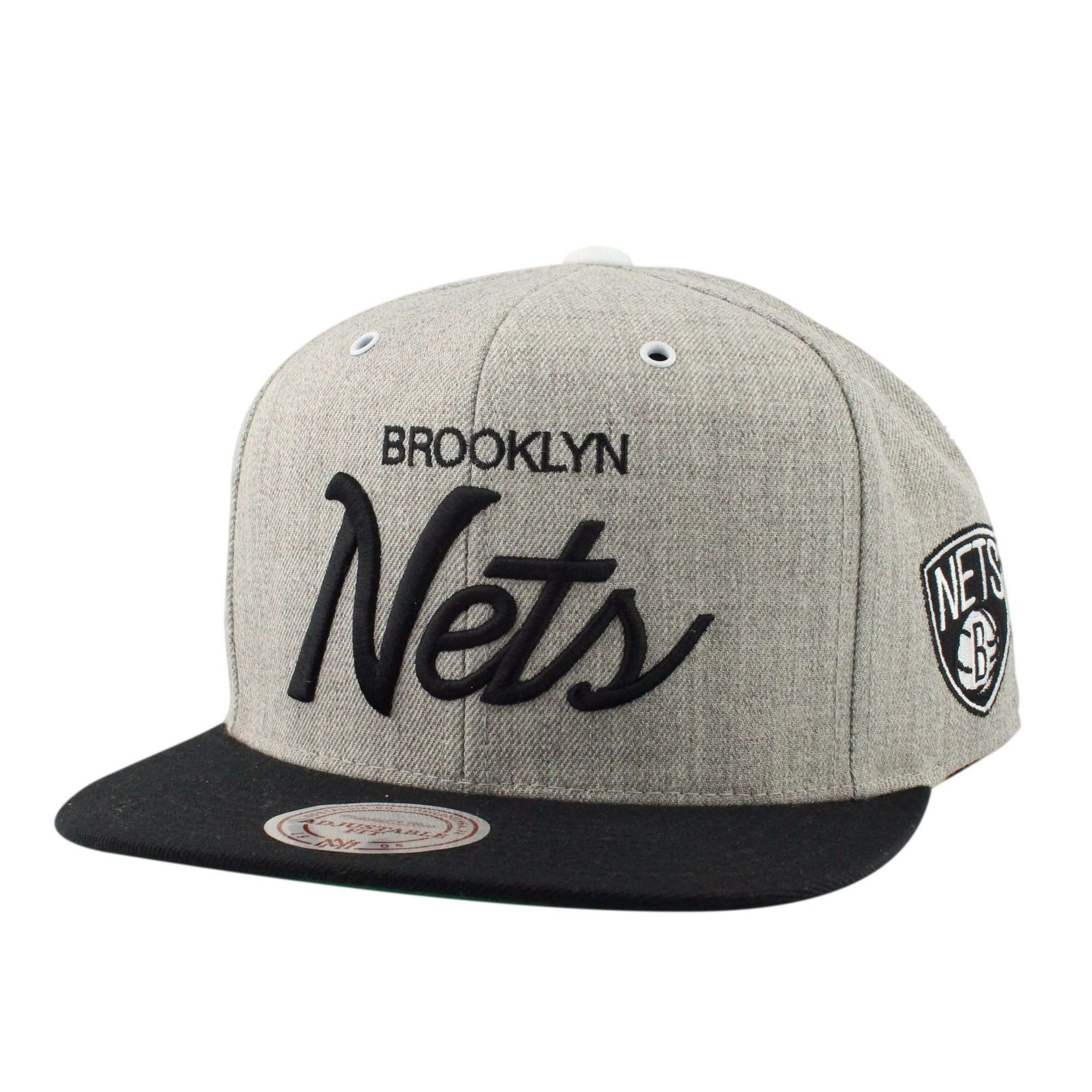 official photos b2014 02dd1 Mitchell and Ness Brooklyn Nets Special Script Heather Gray Black Snapback