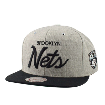 Mitchell and Ness Brooklyn Nets Special Script Heather Gray/Black Snapback