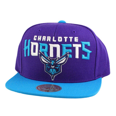 Mitchell and Ness Charlotte Hornets Tri Pop Wordmark Purple/Blue Snapback