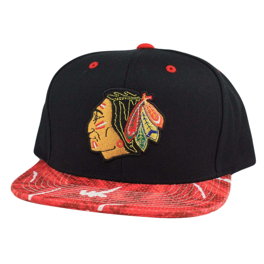 2ca5645d9d6 Mitchell and Ness Chicago Blackhawks Color Stroke Black Red Snapback