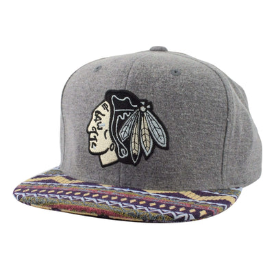 Mitchell and Ness Chicago Blackhawks Heather Tribal Gray/Assorted Snapback