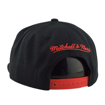 Mitchell and Ness Chicago Blackhawks Laser Cut Leather Black/Black Snapback