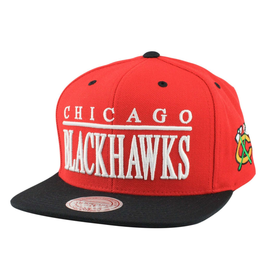 reputable site 3165f b20fd Mitchell and Ness Chicago Blackhawks Top Shelf Red Black Snapback