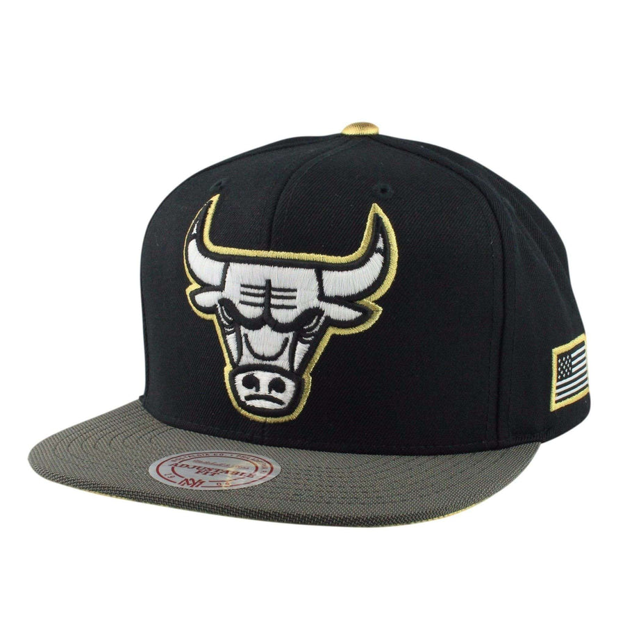 best loved 60fe6 1028c ... free shipping mitchell and ness chicago bulls gold tip black gray  snapback a56b1 6e599