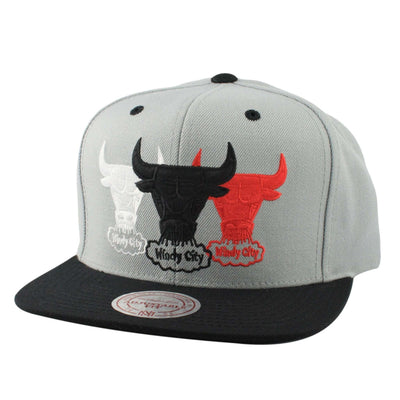 Mitchell and Ness Chicago Bulls Triple Color Stack Gray/Black Snapback