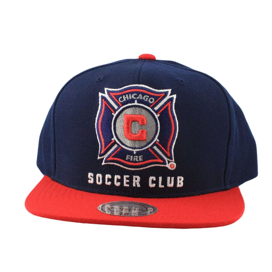new concept b6a12 961fc Mitchell and Ness Chicago Fire XL Logo 2 Tone Blue Red Snapback