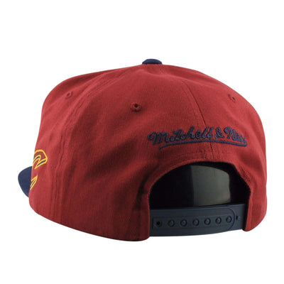 Mitchell and Ness Cleveland Cavaliers Wordmark Maroon/Navy Snapback