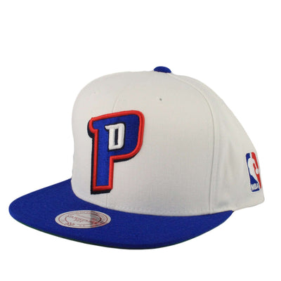 Mitchell and Ness Detroit Piston Current Logo White/Blue Snapback