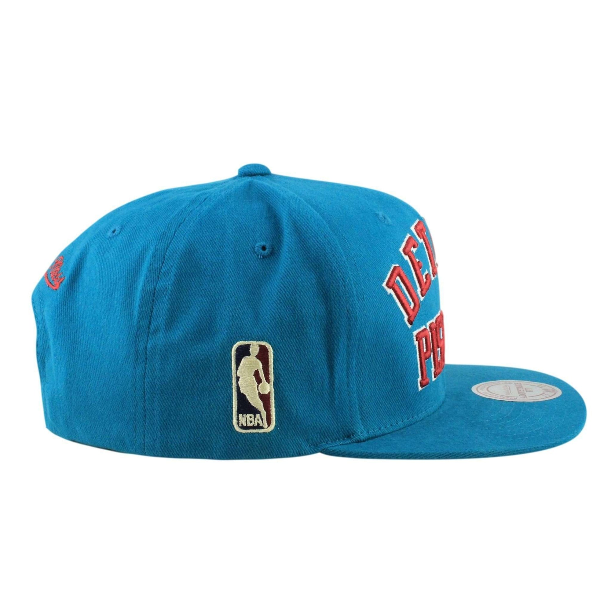 e0cddbee81603 Mitchell and Ness Detroit Pistons HWC Wordmark Teal Teal Snapback