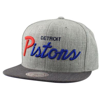 Mitchell and Ness Detroit Pistons Tri Pop Special Script Gray/Gray Snapback
