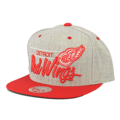Mitchell and Ness Detroit Red Wings Gray City Bar Gray/Red Snapback