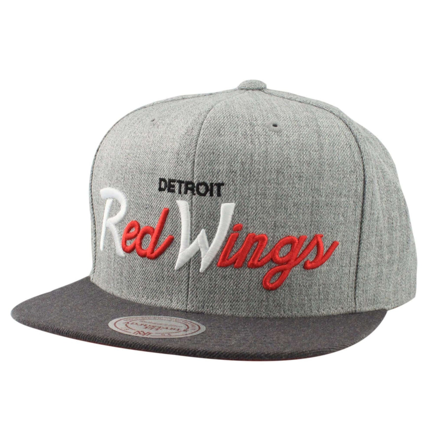 the latest 92389 c273e Mitchell and Ness Detroit Red Wings Tri Pop Special Script Gray Gray  Snapback