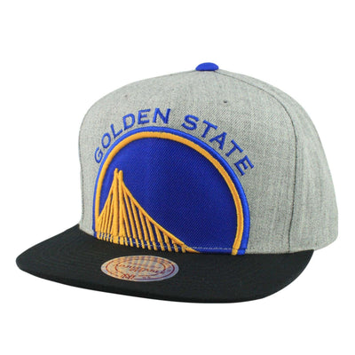 Mitchell and Ness Golden State Warriors Cropped Split Heather Gray/Black Snapback