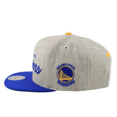 Mitchell and Ness Golden State Warriors Special Script Heather Gray/Blue Snapback