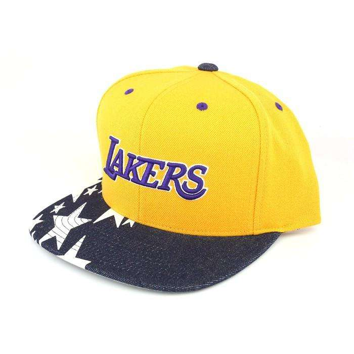 quality design cb837 f467b Mitchell and Ness Los Angeles Lakers Denim Stars Yellow Assorted Snapback