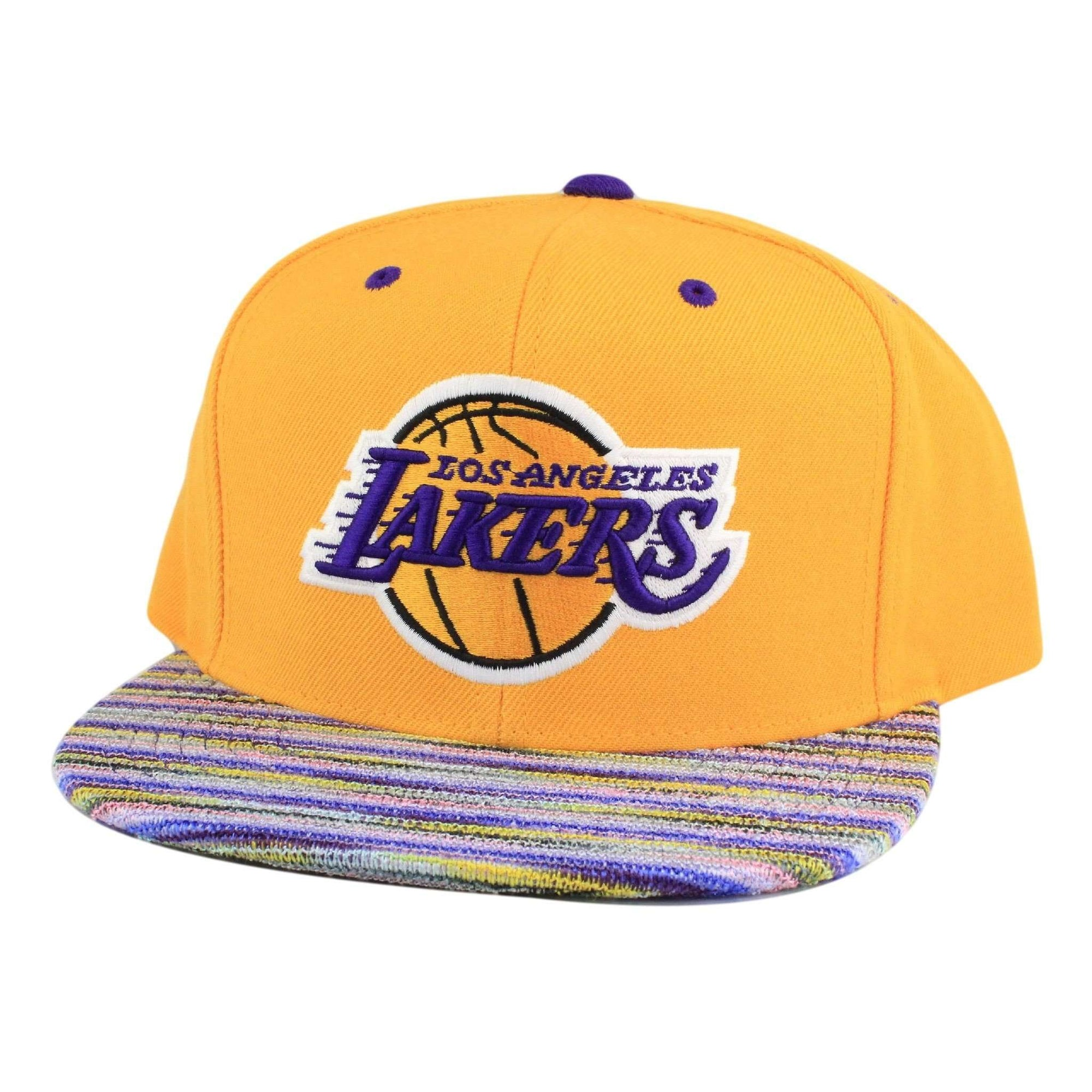 separation shoes ba0b6 9d635 Mitchell and Ness Los Angeles Lakers Knit Visor Yellow Assorted Snapback