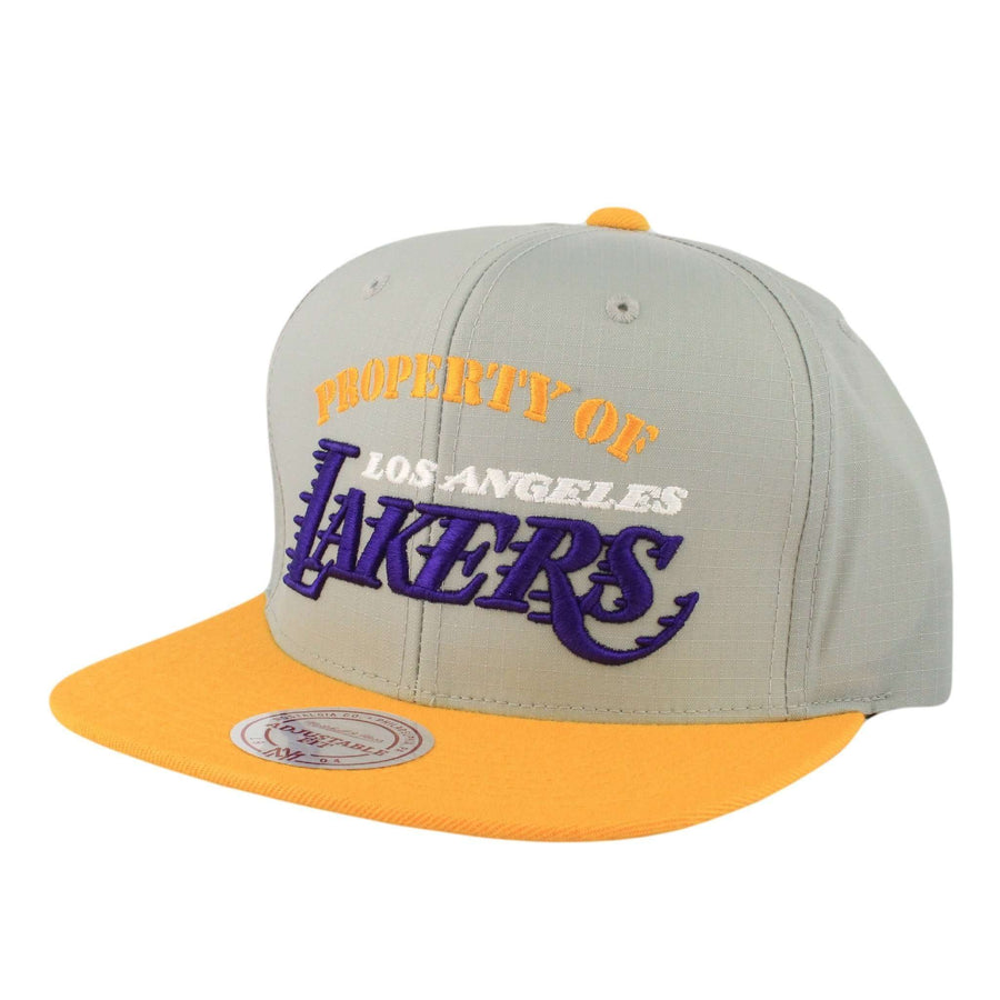 new style 74dae 35ad0 Mitchell and Ness Los Angeles Lakers Property Gray Yellow Zipperback