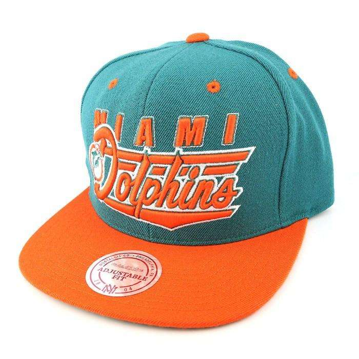 Mitchell and Ness Miami Dolphins Tail Sweep Green Orange Snapback d0b0422e8273