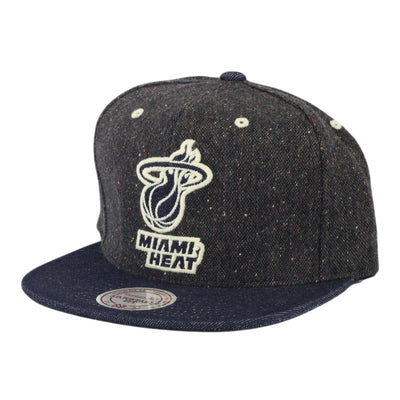 Mitchell and Ness Miami Heat Tweed Crown Denim Charcoal/Blue Strapback