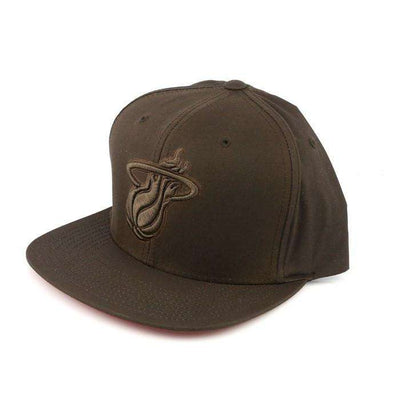 Mitchell and Ness Miami Heat Waxed Canvas Brown/Brown Strapback