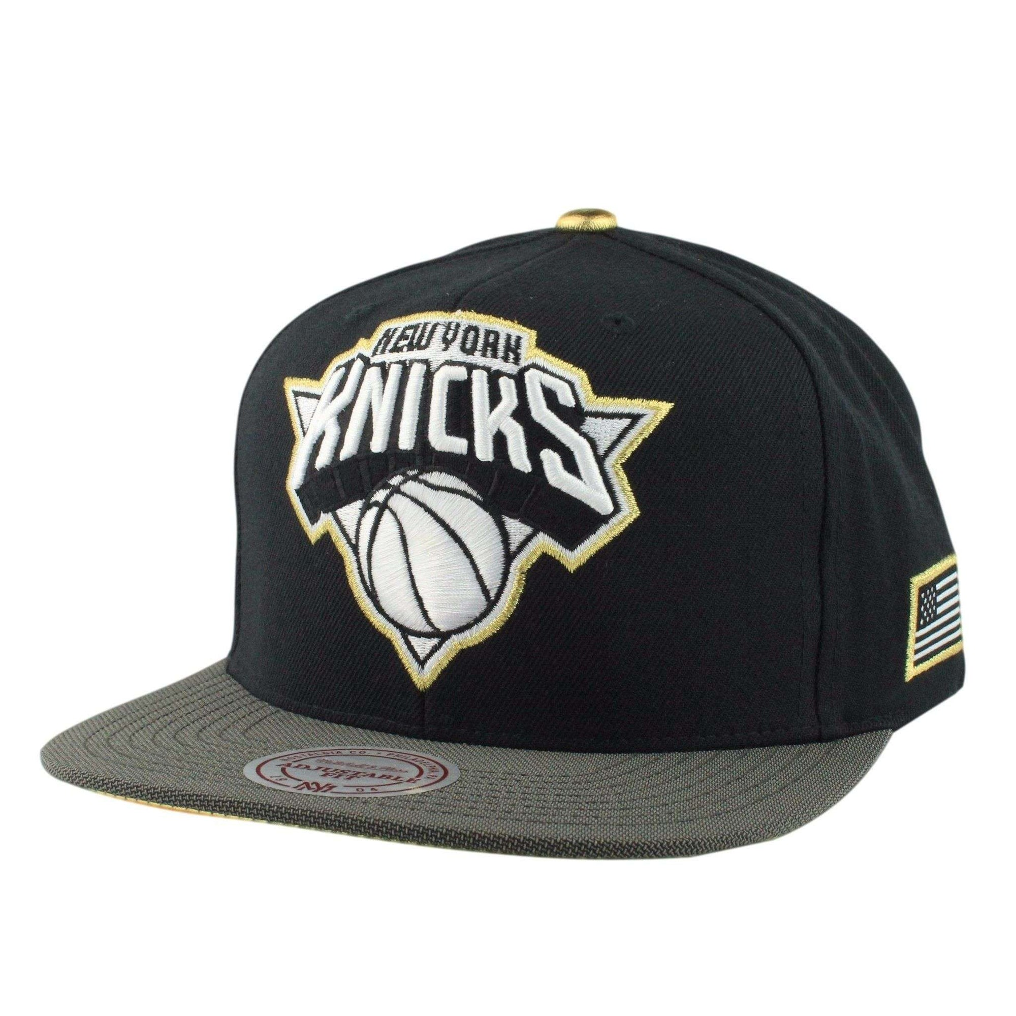 6479ae72200 Mitchell and Ness New York Knicks Gold Tip Black Gray Snapback