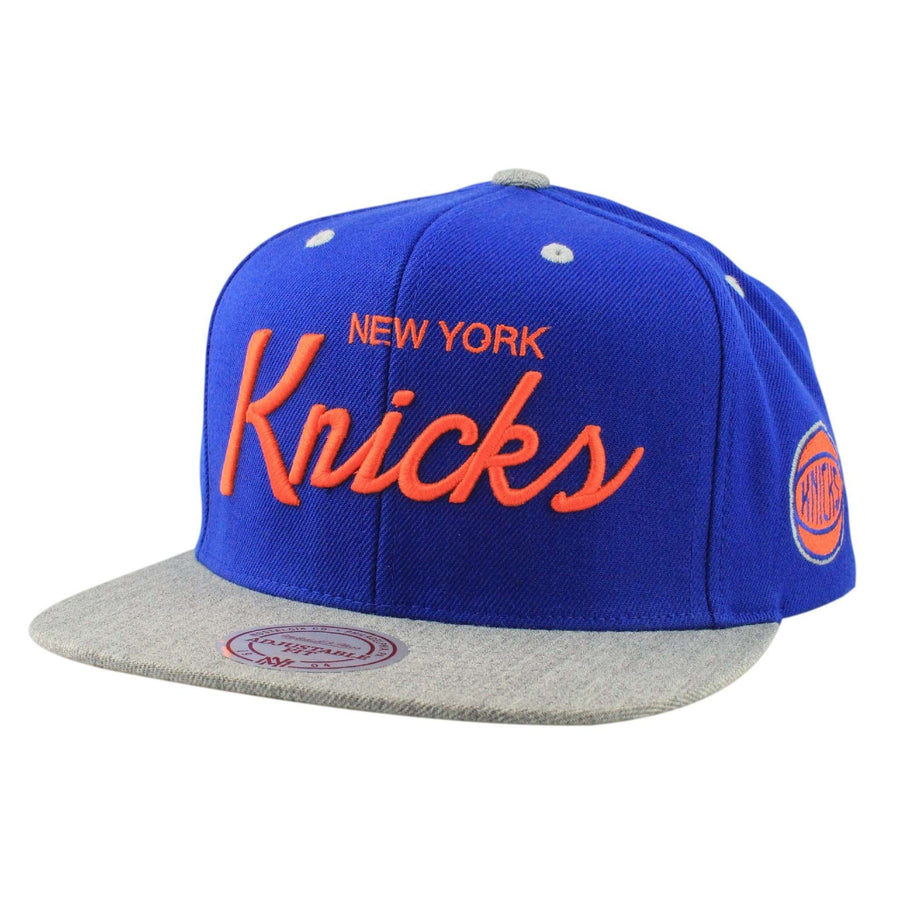 1a394081bab Mitchell and Ness New York Knicks Special Script Blue Gray Snapback