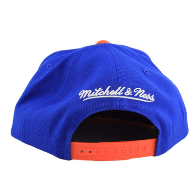 Mitchell and Ness New York Knicks Tri Pop Wordmark Blue/Orange Snapback