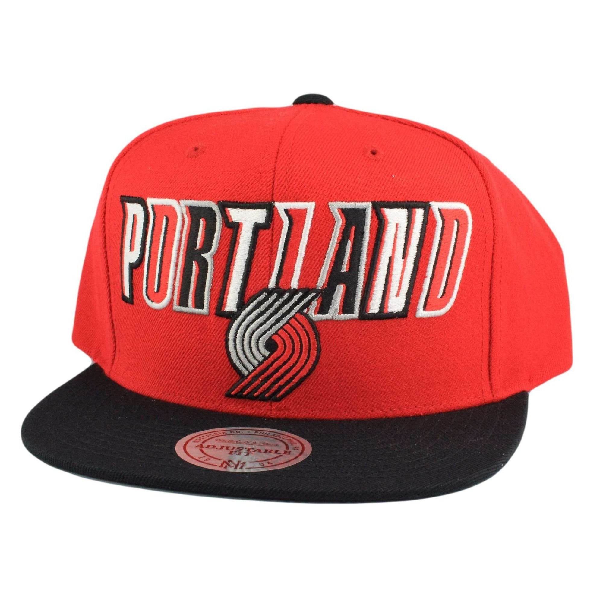 sale retailer 45bc6 4e32b Mitchell and Ness Portland Trail Blazers Tri Pop Wordmark Red Black Snapback