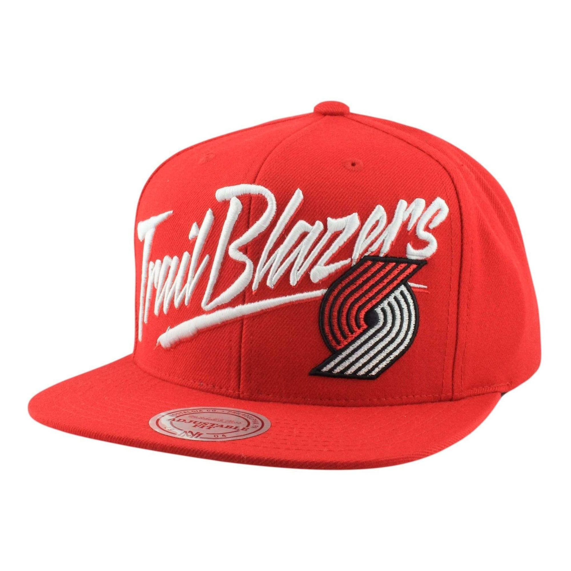 brand new ffa10 04b24 Mitchell and Ness Portland Trail Blazers Vice Script Solid Red Red Snapback