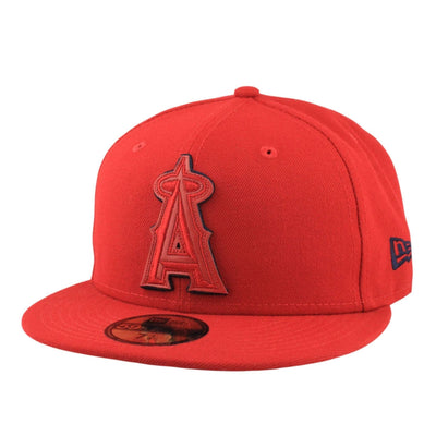 New Era Anaheim Angels Leather Pop Red/Red Fitted