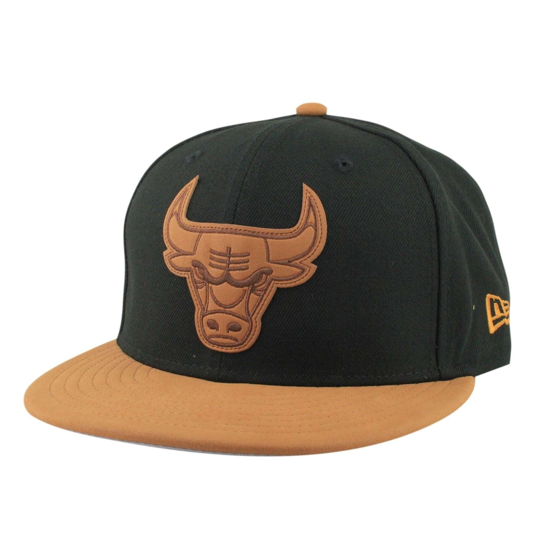 b2330083bb7 Chicago Bulls Leather Patcher Black Brown Snapback