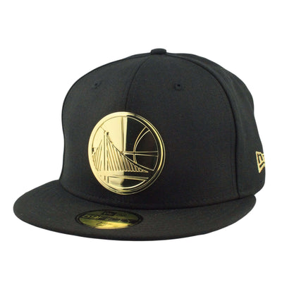 New Era Golden State Warriors Gold Metal Badge Black/Black Fitted