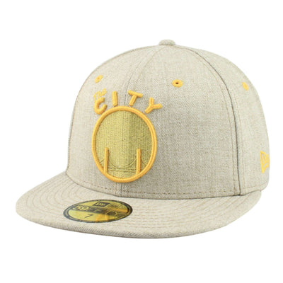 New Era Golden State Warriors Yellow Logo Oatmeal/Oatmeal Fitted