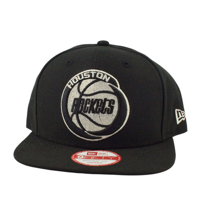 New Era Houston Rockets Black Met Silver Black/Blac Snapback