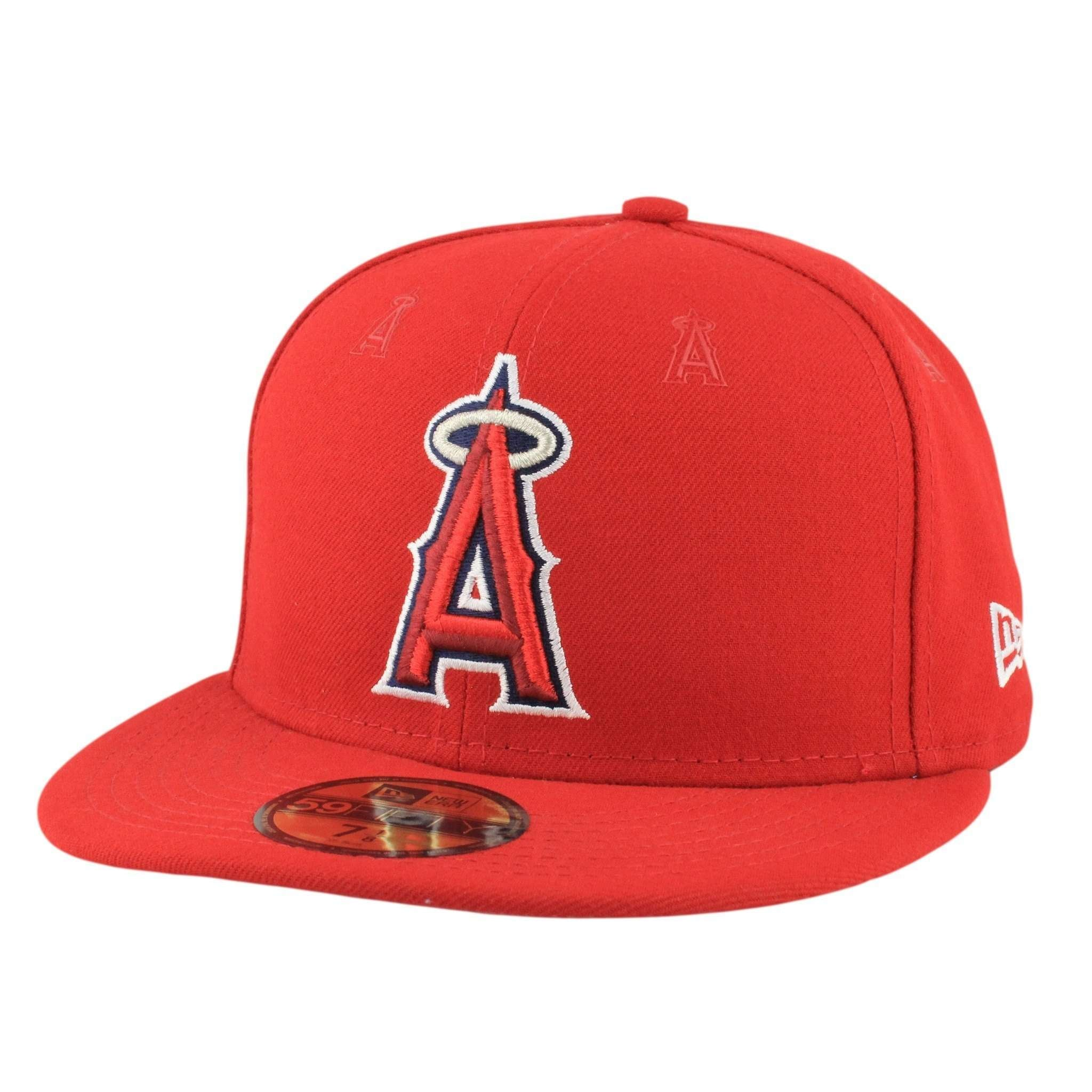 55e6322f2 Los Angeles Angels Logo Repeat Red Red Fitted