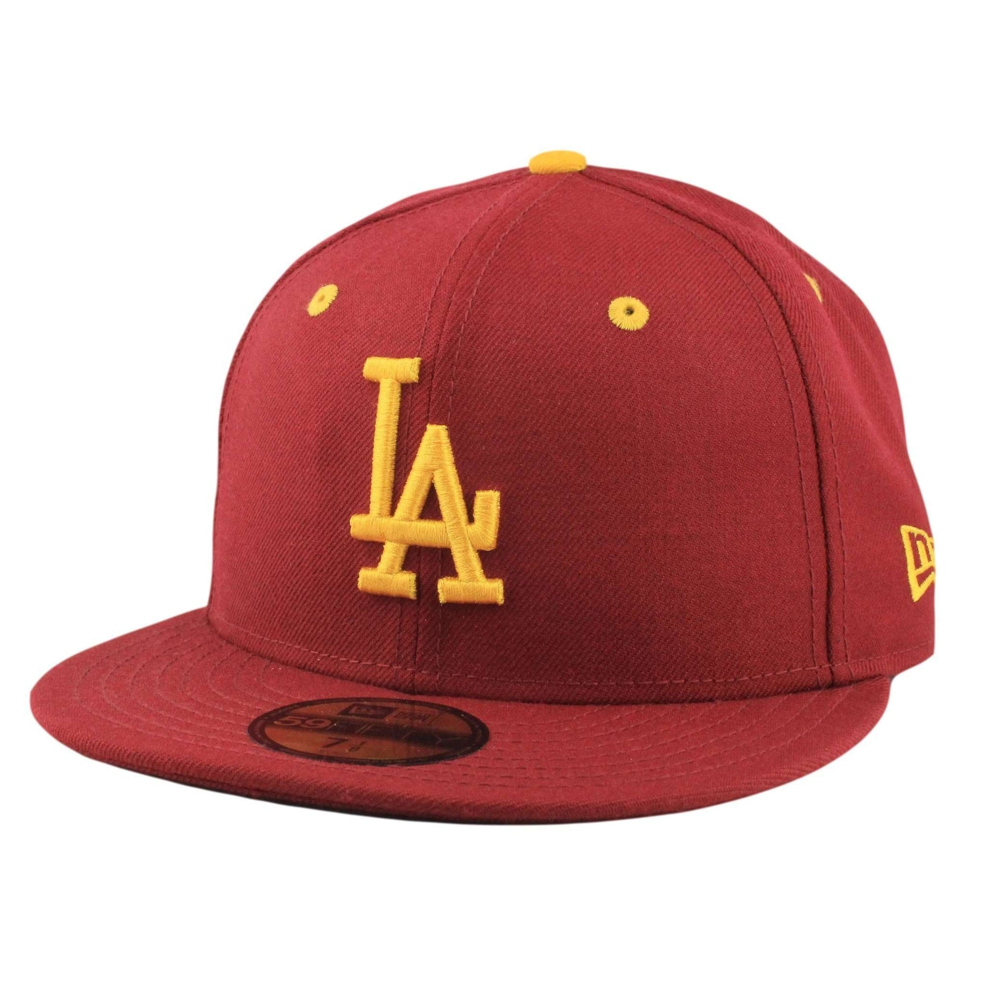 New Era Los Angeles Dodgers Yellow Logo Maroon Maroon Fitted 14ab3379577
