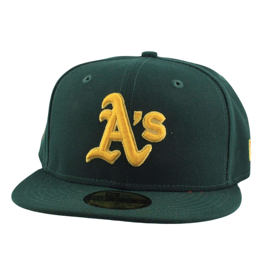 buy online 3e918 c37d2 New Era Oakland A s Finest Green Green Fitted